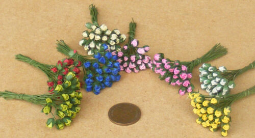1:12 Scale Bunch Of 25 Dark Pink Paper Rose Buds Tumdee Dolls House Flowers