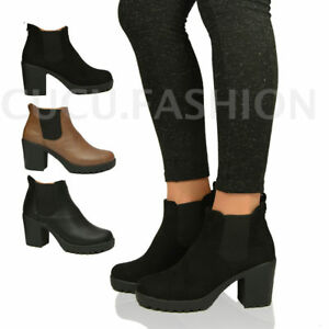 New-Womens-Ladies-Chunky-Block-Heel-Grip-Sole-Chelsea-Ankle-Boots-Shoes-Size-3-8