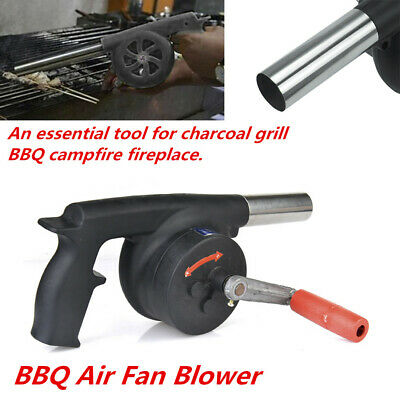 29x12cm DERCLIVE Black Manual Air Blower with Hand Crank for Outdoor Camping Barbecue BBQ Fire Bellows Hiking Picnic