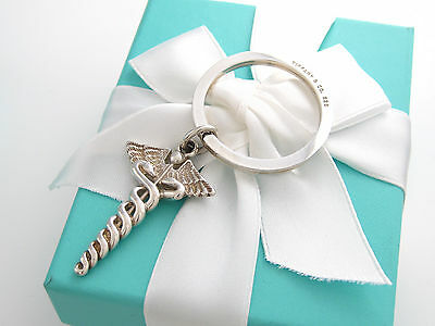 Auth New Tiffany & Co Caduceus Medical Key Chain Keychain