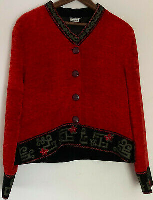 Red Embroidered Cropped Jacket