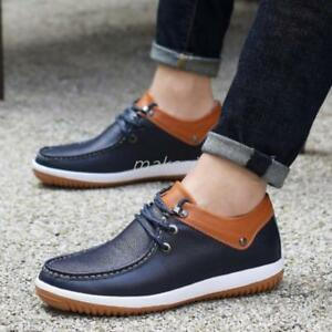 hidden elevator boat shoes leather lace up mens casual