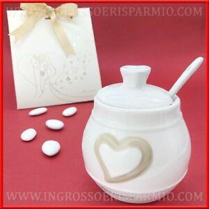 Bomboniere Matrimonio Zuccheriera.Zuccheriera In Porcellana Con Cuore Bomboniere Matrimonio Harmony