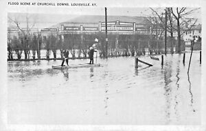 LOUISVILLE-KY-FLOOD-SCENE-CHURCHILL-DOWNS-POSTCARD