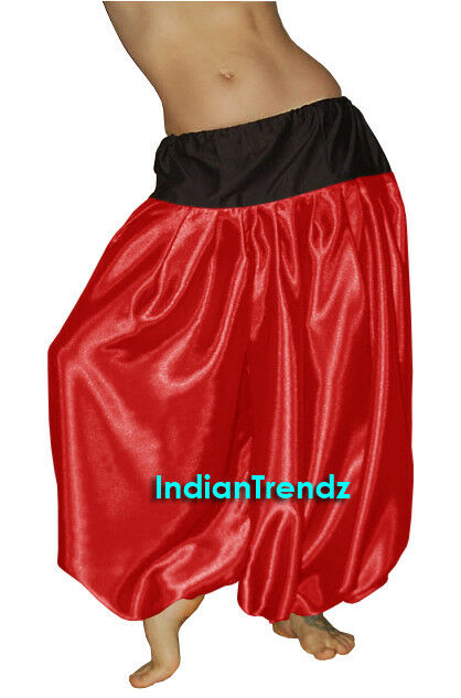Pink Satin Harem Yoga Pant Belly Dance Pantaloons Bombachos Aladdin Halloween