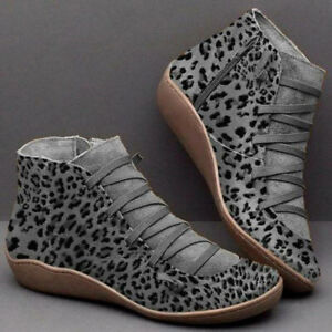 Women-039-s-Warm-Suede-Side-Zipper-Ankle-Boots-Lace-Up-Combat-Goth-Sport-Wedge-Shoes
