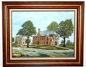 Orig-Oil-on-Canvas-Artwork-Castle-of-St-Boniface-Wood-Frame-Signed-Smith