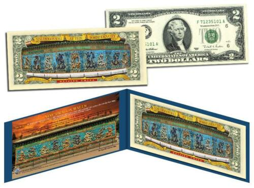 NINE DRAGON WALL at the FORBIDDEN CITY Colorized US $2 Bill Beijing China Lucky