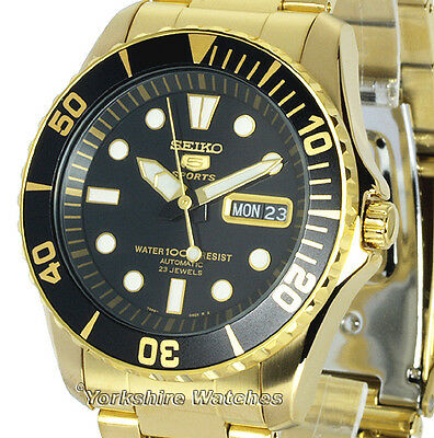Men's SEIKO 5 SPORTS AUTO DAY DATE SEAMASTER GOLD TONE STAINLESS STEEL SNZF22J1