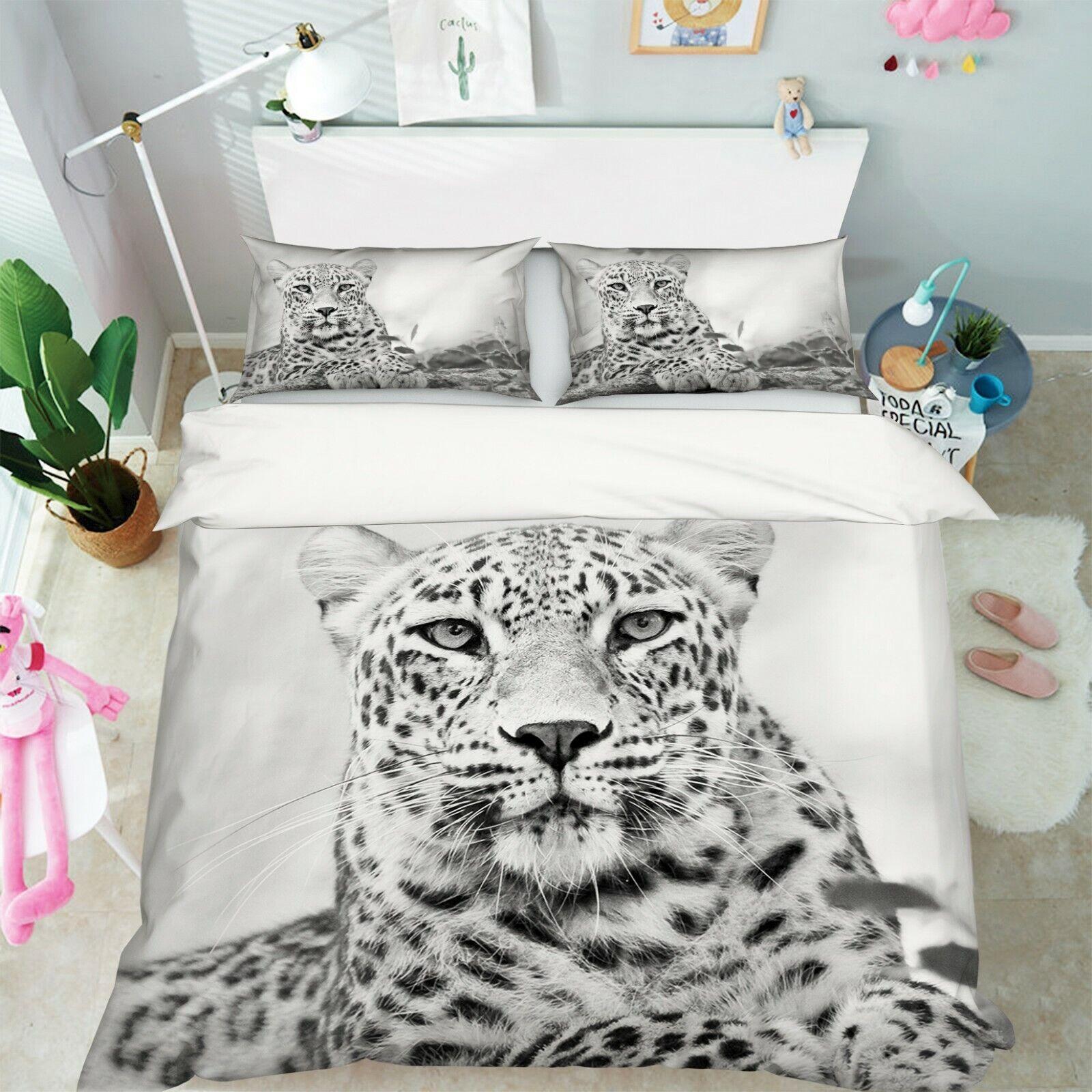 3D Grass Leopard P64 Animal Bed Pillowcases Quilt Duvet Cover Set Queen Zoe