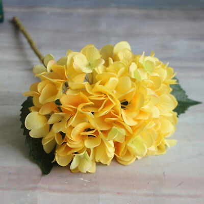 6 Heads Artificial Hydrangea Silk Fake Flowers Wedding Bouquet Bridal Favor 1PC