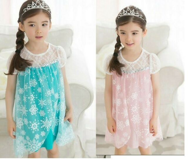 lovely disney  elsa snowflakes PINK AQUA Toddler Girls kids princess dress