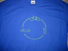 Bike Eat Sleep t-shirt M blue with yellow cycling graphic tee short sleeve