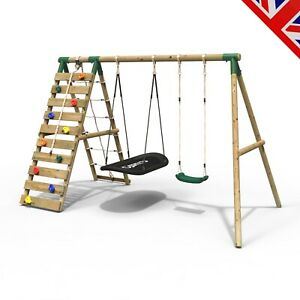 Rebo Wooden Swing Set with Up and Over Climbing Wall - Sage Green