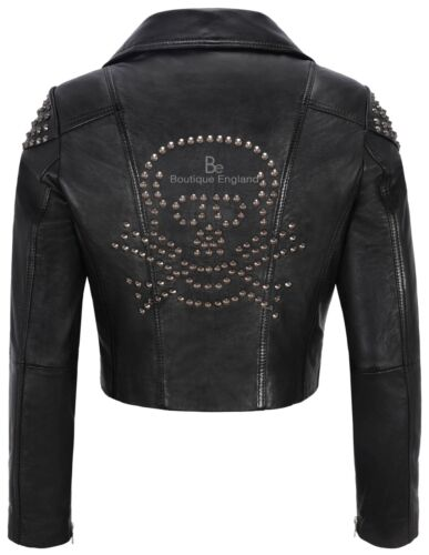 2740 Back Ladies Biker Jacket Napa Studded Studed Black Skull Leather Soft Real PPw7xqSX