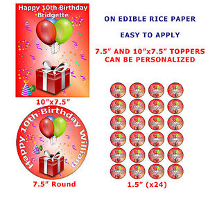 10th Birthday Cake Cupcake Topper For Boys And Girls On Edible Wafer