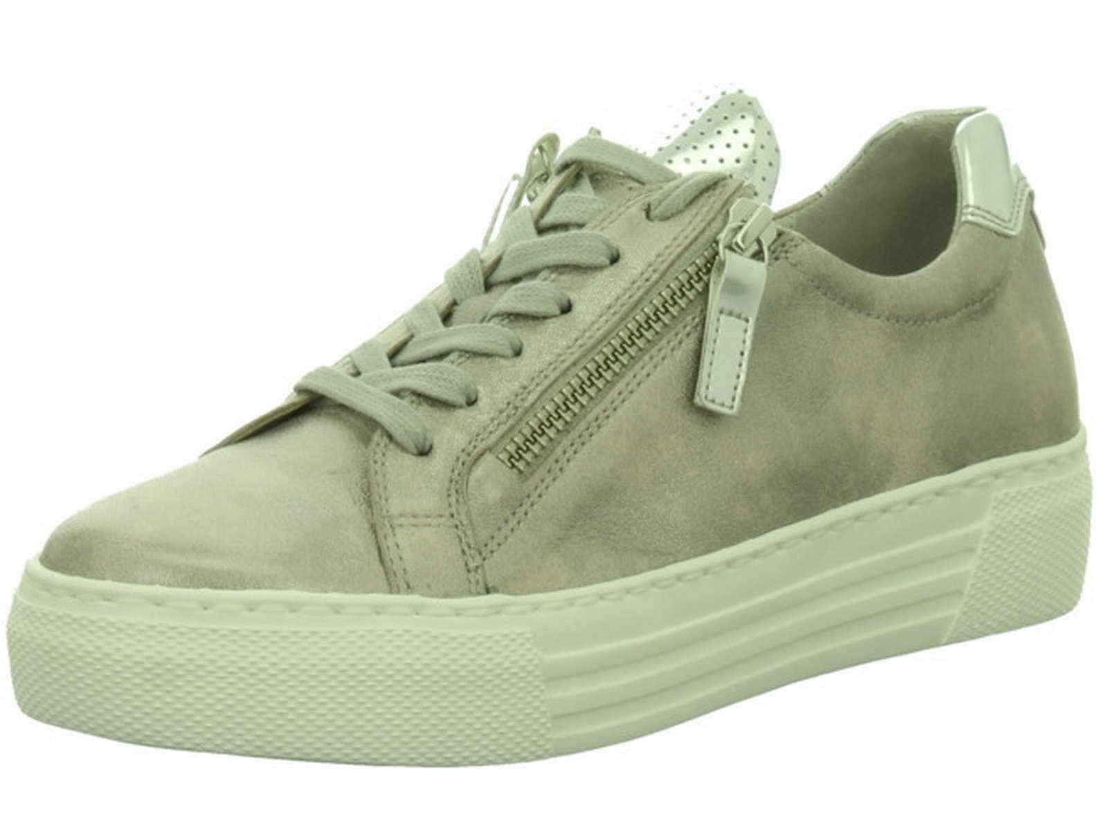 Gabor Comfort Sneaker grey silver pink Leder Reißverschluß 468 62 Weite G