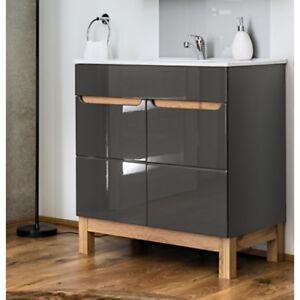 Waschbeckenunterschrank Waschbecken Waschtisch 80cm Badmöbel Grau