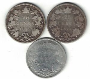 3-X-CANADA-25-CENT-QUARTERS-QUEEN-VICTORIA-925-SILVER-COIN-1872H-1874H-1882H