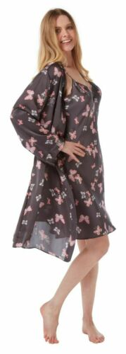Ladies Womens Silky Satin Butterfly Strappy Chemise /& Robe Set 10//12-14//16