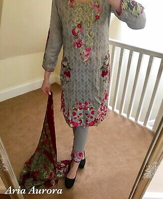 Baroque Style Asian Eid Pakistani Indian Shalwar Kameez Outfit Faulty S M L XL