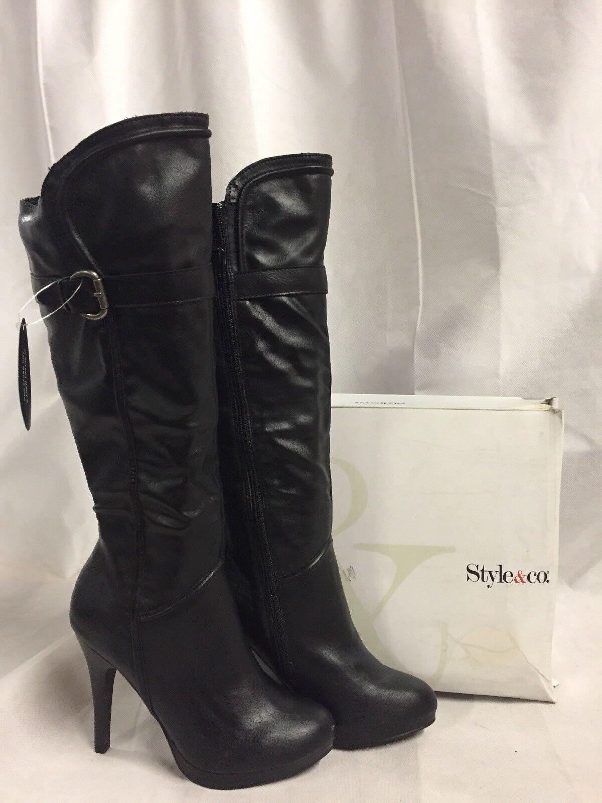 Style & Co Women's Feisty Heels Boots, Black, Size 6 M