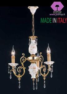 Lampadari Classici Per Camera Da Letto.Lampadario Classico Oro Porcellana Nuovo Oro Cristallo 3 Luci