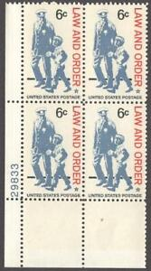 Scott # 1343 - US Plate Block of 4 - Law And Order - MNH - (1968)