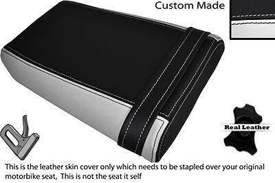 BLACK & WHITE CUSTOM FITS YAMAHA FZR 400 3TJ REAR PILLION LEATHER SEAT COVER