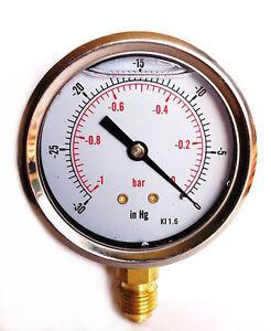 Vacuum-Gauge-S-Steel-case-Glycerine-filled-63mm-1-0-Bar-amp-30-Hg-1-4-BSP-Bottom