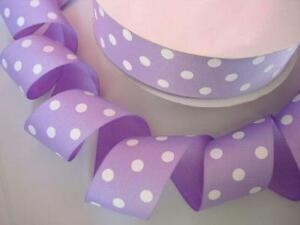 """Grosgrain Butterfly with Flowers Purple and White Ribbon 1.5/"""""""