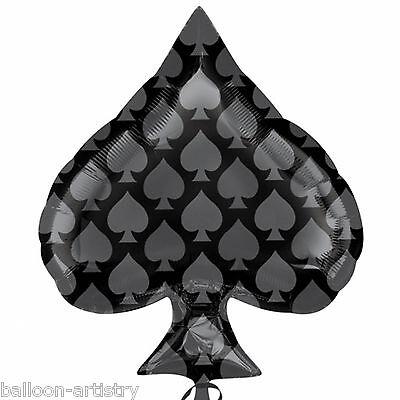 "22"" Casino Night Party Card Suit Black Spade SPADES Foil Jnr Shape Balloon"