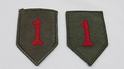 United States Army Military Patch set 1st Infantry Division Green with Red 1