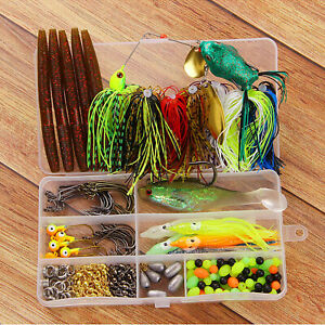 Bass-Fishing-Kit-Tackle-Lures-190pcs-Bass-Lures-Spinnerbait-Minnow-Hooks-Swivels