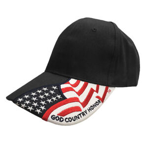 God-Country-Honor-Rockpoint-Freedom-Hat-USA-flag-cap-Black-Navy-Stripes-Stars