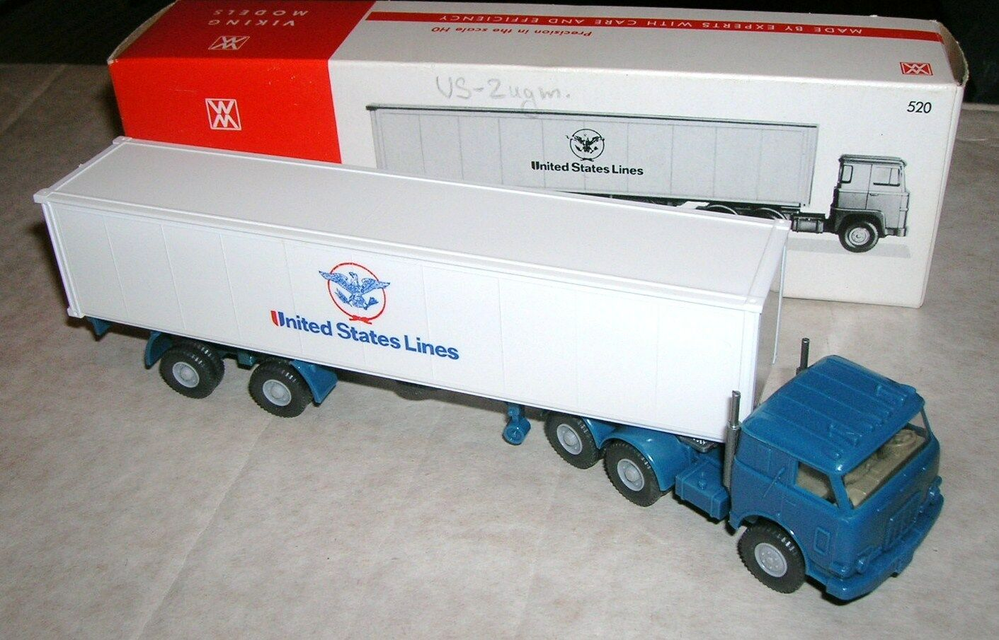 Wiking camion remorques nº 520 united states lines us tracteur Mint & OVP