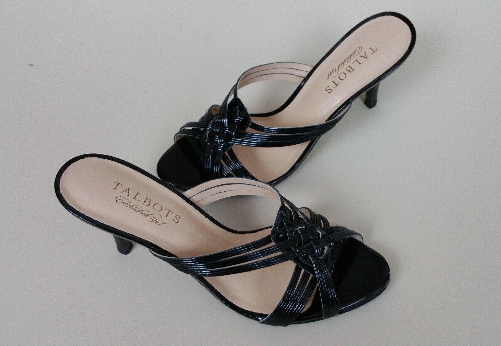 Open toe shoes heels talbots black size 6.5 W 3.5  heel grady