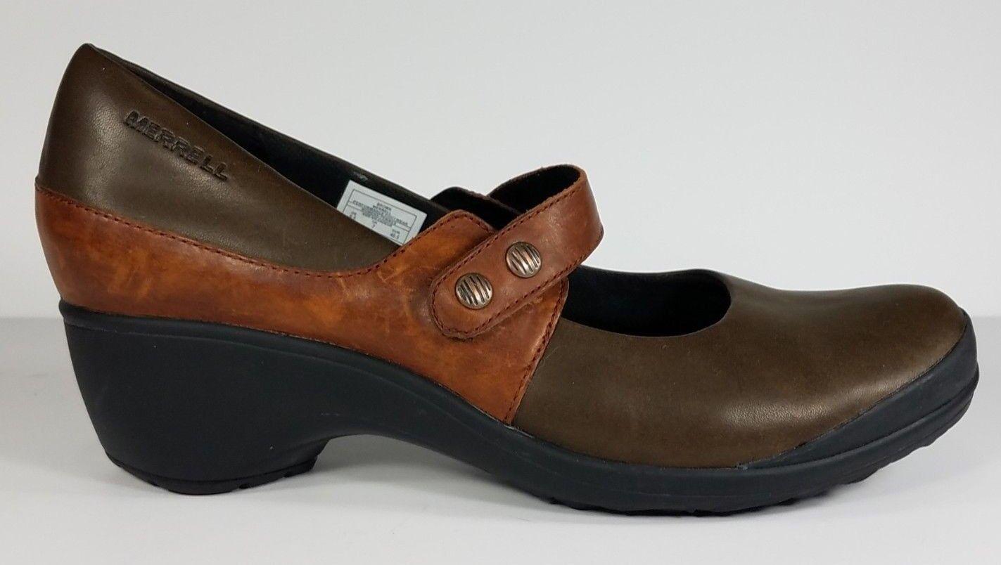 Merrell braun mocha athletic heeled Mary Janes leather schuhe ladies damen 9.5