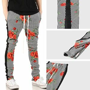 Mens-Skinny-Track-Pants-Rose-Print-Stripe-Stretch-Jogger-Trouser-Fashion-Casual