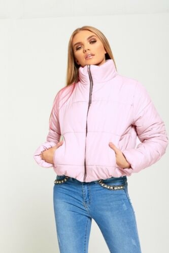 DIVADAMES WOMENS QUILTED PADDED LADIES  HIGH NECK PUFFER JACKET469