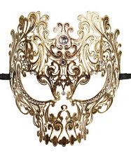 Metal Death Skull Vintage Gold Laser Cut Venetian Masquerade Mask Unisex Costume