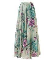 Boho Women's Floral Print Pleated Maxi Skirt Elastic High Waist Beach Long Dress