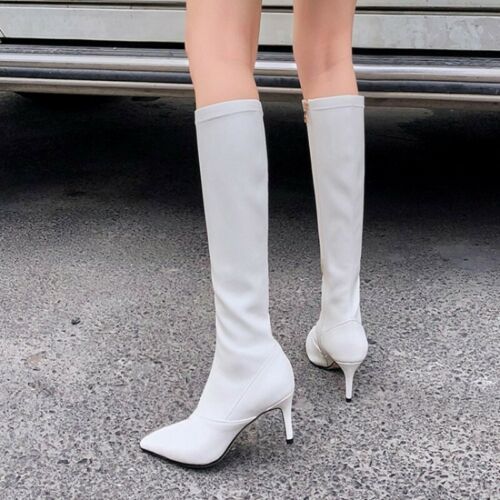 Women/'s Leather Pointy Toe Mid Calf Stretch Boots Mid Heels Side Zip Party Shoes