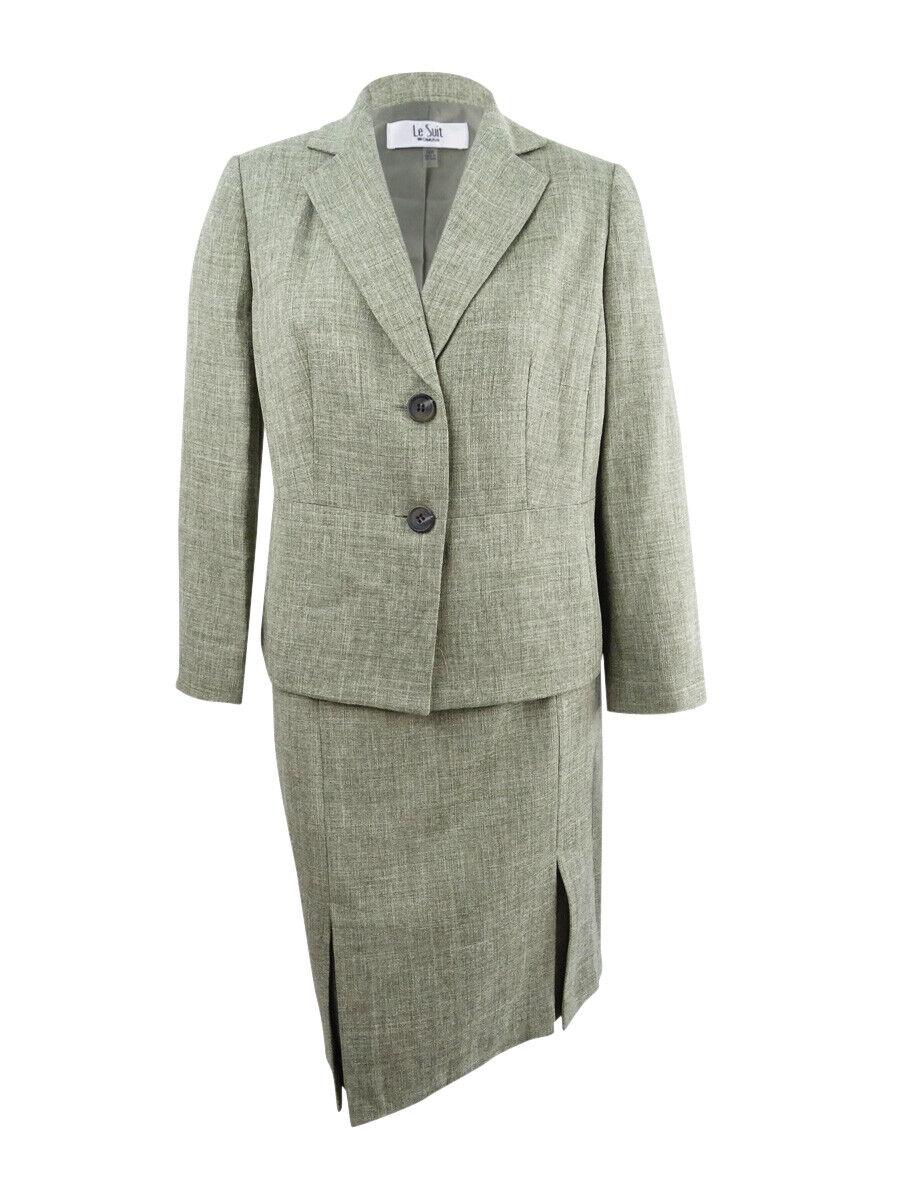 Le Suit Women's Plus Size Textured Two-Button Skirt Suit (14W, Leaf)