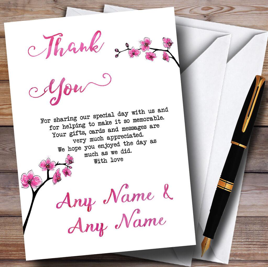 rosa personalizzata Cherry Blossom Acquerello personalizzata rosa Nozze CARTOLINE di ringraziamento 190d8c