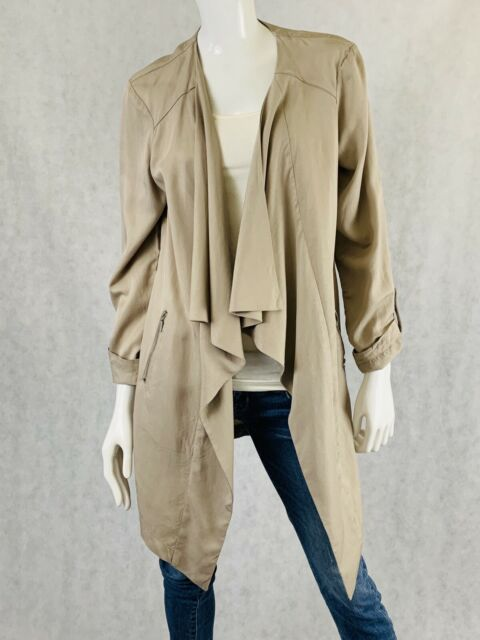 Eliane Rose Women Beige ruffle open front zipper pocket Jacket Size MEDIUM M
