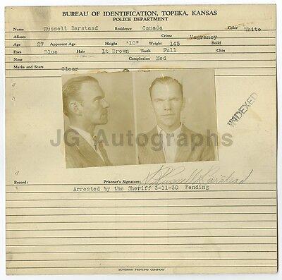 Topeka Russell Barstead/vagrancy Kansas 1930 Fine Workmanship Police Booking Sheet
