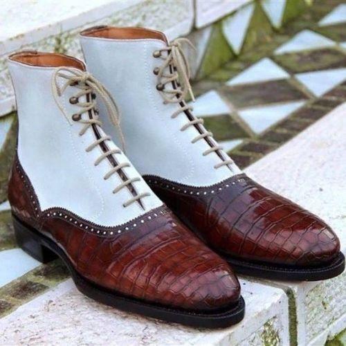 Herren Herren Herren HANDMADE CROCODILE TEXTURE BURGUNDY TWO TONE Stiefel  Herren CASUAL DRESS Stiefel 5a988c