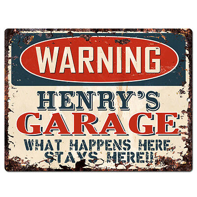 PPFG0046 WARNING HENRY/'S GARAGE Tin Chic Sign man cave Decor Funny Gift