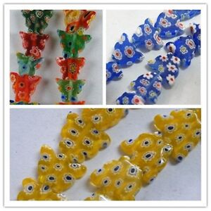 100pcs Millefiori Glass Butterfly Shaped Spacers 3colors-1 12x10mm